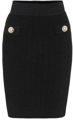 Balmain High-rise ribbed-knit miniskirt