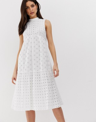 Asos Design DESIGN premium tiered broderie high neck midi swing dress-White