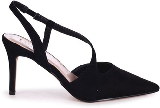 Linzi BERKELEY - Black Suede Wrap Around Sling Back Court Heel