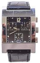 Gucci 7700 Black Leather Band Chronograph Date Swiss 32mm Mens Watch