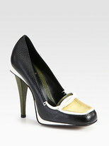 Fendi Flappers Lizard-Print Leather Loafer Pumps