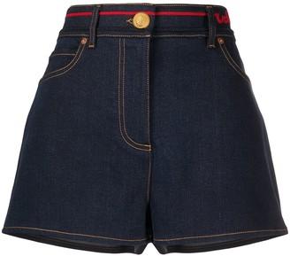 Valentino Signature-Embroidered Denim Shorts