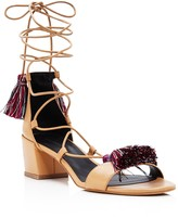 Rebecca Minkoff Isla Lace Up Tassel Mid Heel Sandals