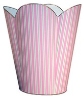The Well Appointed House Pink and Green Striped Decoupage Wastebasket and Optional Tissue Box