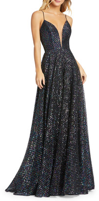 Mac Duggal Sequin Metallic Lattice Sleeveless A-Line Gown