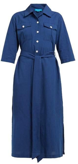 MiH Jeans Elsie Chambray Midi Shirtdress - Womens - Navy