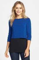 Vince Camuto 'Tropic Stripe' Layered Look Top