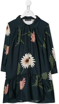 Oscar De La Renta Kids Floral Silk Dress