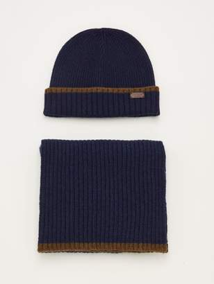 Barbour Cromer Beanie & Scarf Gift Set - Navy