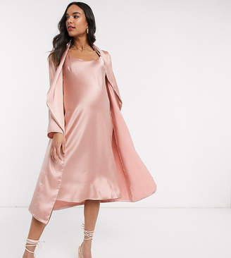 Queen Bee Baby Shower ruched cami midi dress and drape jacket set in pink