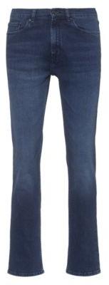 HUGO BOSS Regular-fit jeans in mid-blue stretch denim