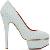 Charlotte Olympia Blue Ostrich-Embossed Dolly Heels