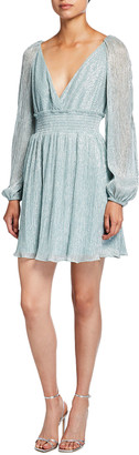 Ever New Metallic Plisse Smock-Waist Dress