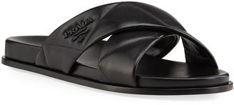 Prada Quilted Crisscross Flat Slide Sandals