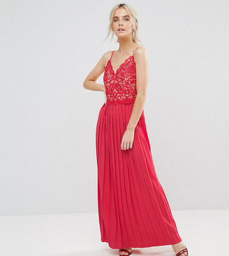 Little Mistress Petite Lace Top Pleated Maxi Dress