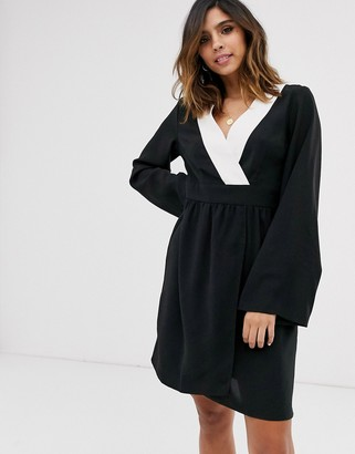 UNIQUE21 contrast trim kimono sleeve dress-Black