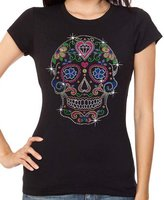 Interstate Apparel Inc Rhinestone Sugar Skull Diamond Heart Tank Top S-3XL Juniors (L (Juniors), )