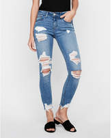 Express mid rise performance stretch distressed denim ankle legging