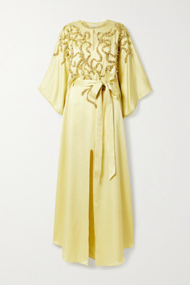Marchesa Belted Embellished Satin Gown - Pastel yellow