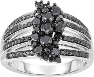 Black Diamond Unbranded 1 Carat T.W. Sterling Silver Split Shank Ring