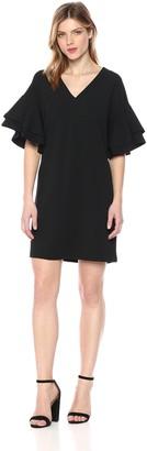 Kensie Women's Stretchy Crepe Tiered Sleeve Dress