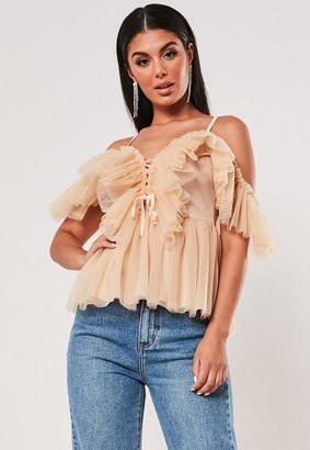 Missguided Petite Nude Tulle Ruffle Front Cami Top