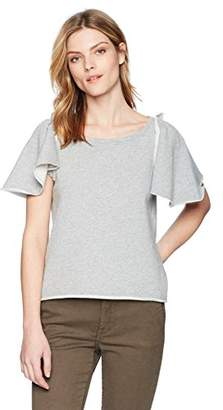 Pam & Gela Women's Ruffle Sleeve Shrunken Sweatshirt
