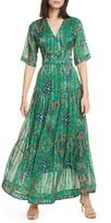 BA&SH Floral Print Metallic Stripe Side Cutout Maxi Dress