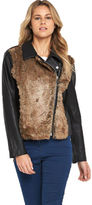 Love Label PU and Fur Trim Biker Jacket In Black Size 10