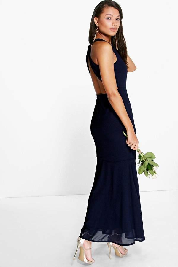 boohoo Carol Chiffon Open Back Fish Tail Maxi Dress