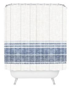 Deny Designs Holli Zollinger French Linen Chambray Tassel Shower Curtain Bedding