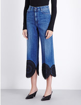 Stella McCartney Scalloped-hem cropped flared high-rise jeans