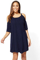 New York & Co. Crochet-Trim Cold-Shoulder Shift Dress