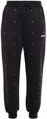 MSGM Crystal-embellished Printed Cotton-fleece Track Pants
