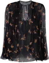 Alexander McQueen moth embroidered blouse