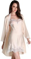 BININBOX Women Sexy Robe Night Gown 100% Silk Two-Piece Suit Babydoll Sleepwear