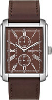 Claiborne Mens Rectangular Dial & Brown Leather Strap Multifunction Watch