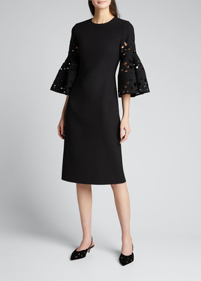 Oscar de la Renta Wool Day Dress w/ Lace Flutter Sleeves
