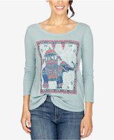 Lucky Brand Three-Quarter-Sleeve Elephant Graphic T-Shirt