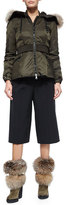Moncler Pleated-Front Gaucho Pants, Black