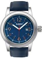 Zippo Men's Casual Watch 45004 With Blue Leather Strap And Chrome/Blue Dial