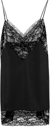 Saint Laurent Lace and silk slip minidress