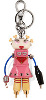 Prada Cheer Robot Embellished Textured-leather Keychain - Baby pink