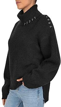 The Kooples Grommeted Ring Detail Wool & Cashmere Sweater