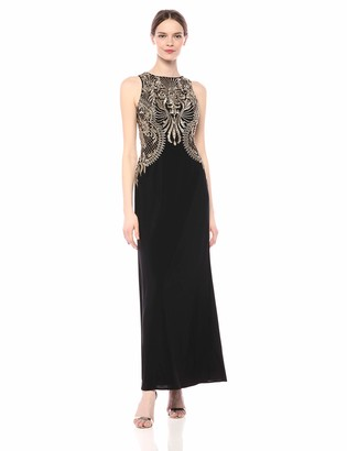 Cachet Women's Embroidered Long Jersey Gown
