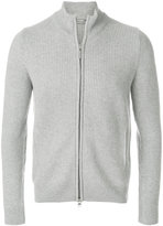 Barba rib knitted zip-up cardigan