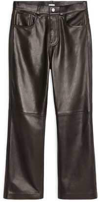 Arket Kick-Flare Leather Trousers