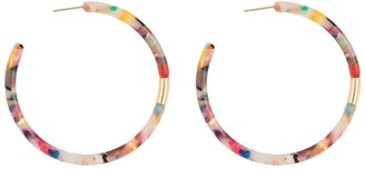 Argentovivo 18K Gold Plated Sterling Silver Multicolor Tort Hoop Earrings