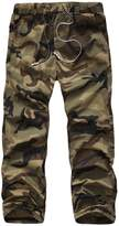 Yong Horse Men's Casual Camouflage Elasticity Drawstring Waist Cargo Pants