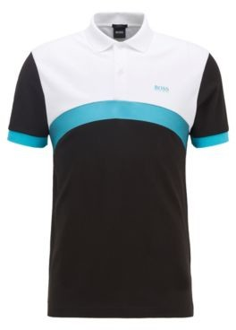 HUGO BOSS Slim Fit Polo Shirt With Curved Color Blocking - Black